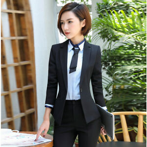 Elegant Black Navy Blue Women Blazer Suit Pant Official Coat Office