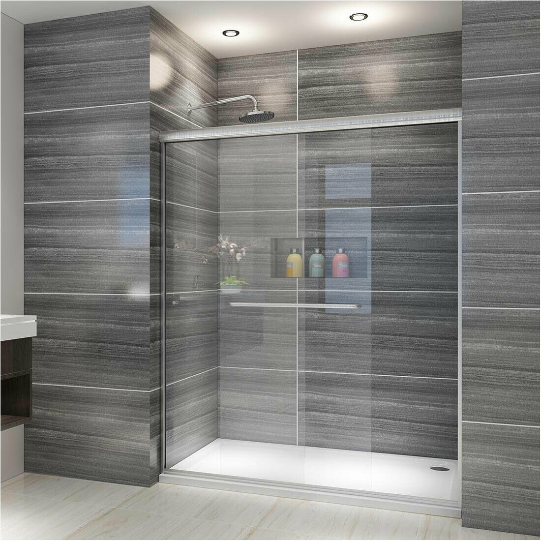 Elegant 60 X 72 Semi Frameless Shower Door 2 Sliding Clear Glass Chrome Finish