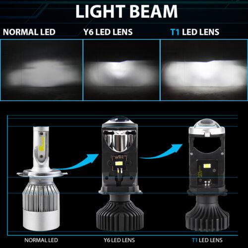 2pcs H4 9003 Mini Bi-LED Projector Lens Hi//Lo Beam 6000K LED Headlight Retrofit