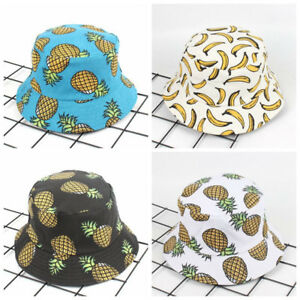 60e7aaf3e09 Image is loading Lovely-White-Pineapple-Printed-Bucket-Hat-Outdoor-Pineapple -