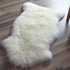 Genuine Sheepskin Rug Single Pelt Ivory White Fur Sheep Skin Throw Rug 2 x 3 rug