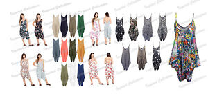 Womens-Lagenlook-Baggy-Harem-Plain-amp-Printed-Cami-Strappy-Jumpsuit-Ladies-Dress