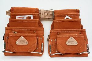 Details About 10 Pocket Carpenter Nail Tool Pouch 2 Leather Waist Bags With 1 Mn Work Belt