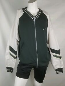 Nike-womens-jacket-size-medium-8-10-vtg-black-gray-zip-up-nylon-sleeves-pockets