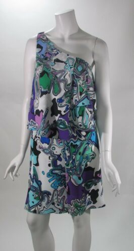 Suzi Chin for Maggy Boutique Mixed Print One Shoulder Tier Dress Szs  4 6 12 NWT