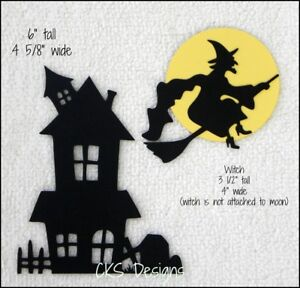 Die Cut Halloween Haunted House Flying Witch Silhouette Scrapbook Paper Piecing