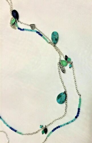 """Silpada Sterling Silver Turquoise and Lapis Long Necklace 48/"""" Long  N2855"""