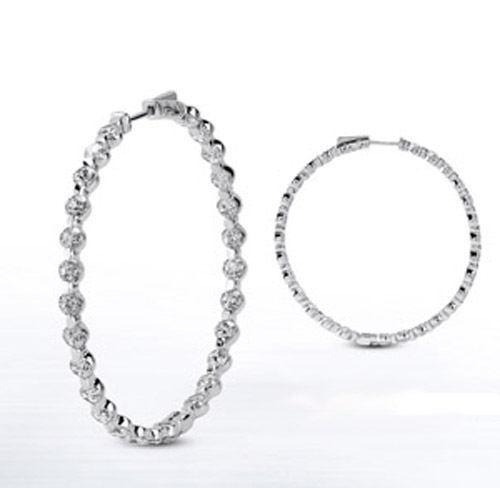 5.40 carat Round cut Diamond 14k White gold Hoop Earring 36 x 0.15 ct 1.25 inch