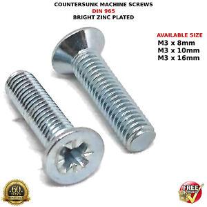 3mm x 16mm LONG POZIDRIVE COUNTERSUNK MACHINE SCREWS M3 SCREW PACK x 20