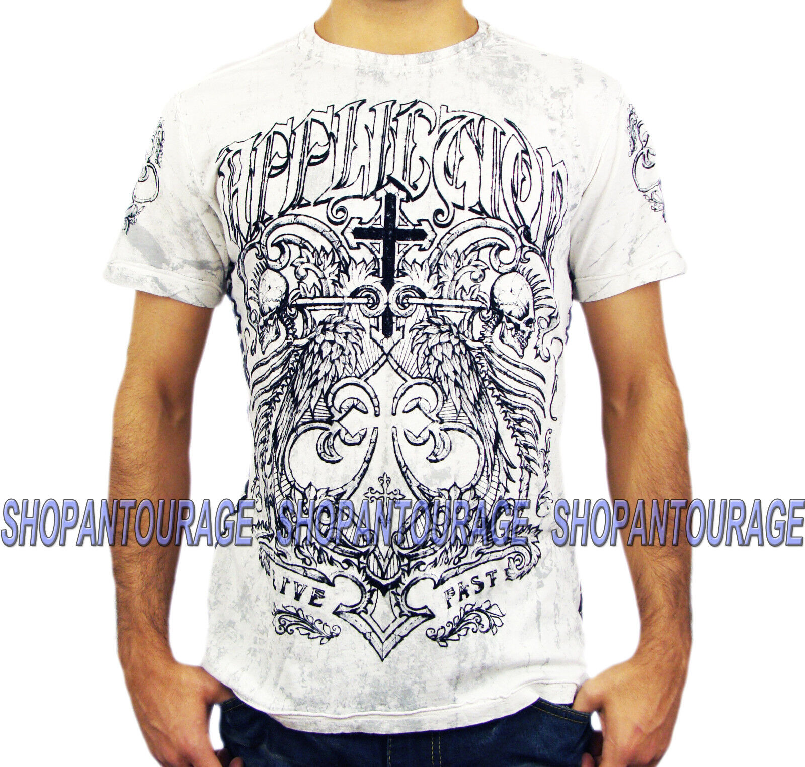 AFFLICTION Fortified A10366 New Men`s T-Shirt White