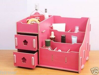 DIY Pink Synthetic Wood Desk Storage Box Case Organizer For Cosmetic Jewellery