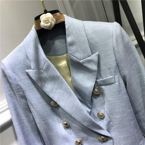 jas jas korte Double pak uitloper knopen Breasted Blazer Vrouwen blauw gouden xPBZq8