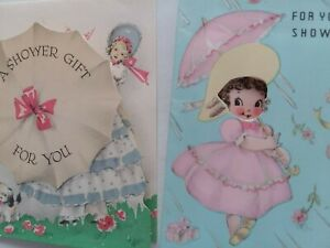 2 Vtg 1940s BRIDE Wedding Shower Charming GIRLS Peek Window GREETING Gift CARDS