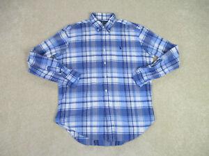 Ralph-Lauren-Polo-Button-Up-Shirt-Adult-Large-Blue-White-Plaid-Casual-Mens-B39