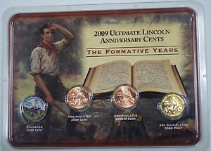 2009-P-amp-D-Formative-Years-Cent-Coins-Colorized-Uncirculated-24Kt-Gold-Plated