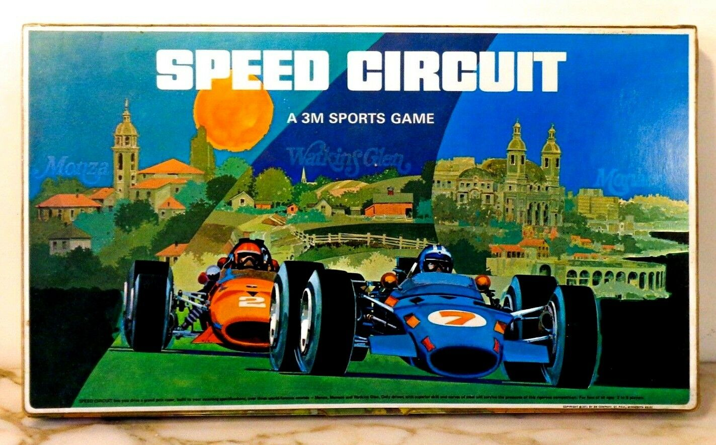 VINTAGE 'SPEED CIRCUIT' (A 3M SPORTS GAME) GRAN PRIX AUTO RACING GAMEBOARD 1971