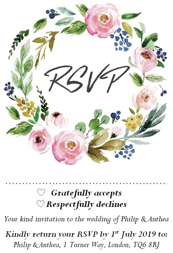 Packs de Personnalisé custom custom Personnalisé Floral/Rustique/Hiver Mariage Invitations  RSVP  Wish 79d7d5