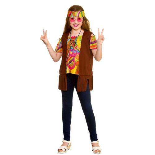 Child COOL HIPPIE SET 60s 70s Groovy Hippy Girls Fancy Dress Costume Age 5-13
