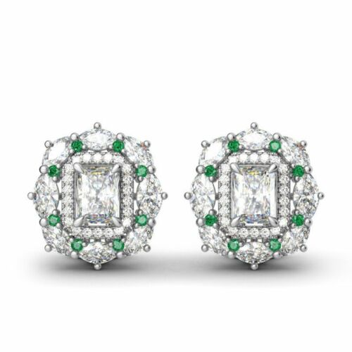 Charming Women White Sapphire Silver Ear Stud Wedding Engagement Earrings Gifts