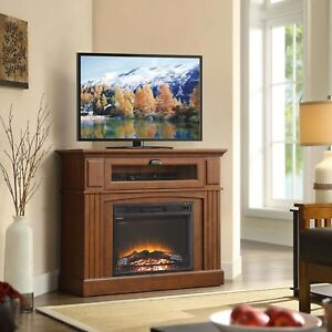 Corner TV Stand Electric Fireplace Media Console Farmhouse ...