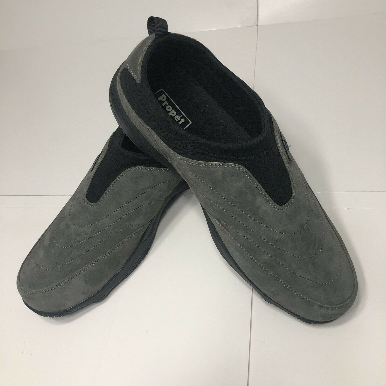 Propet Mens Wash N Wear Grey Suede Leather Slip On Shoes, Size 15, M3850