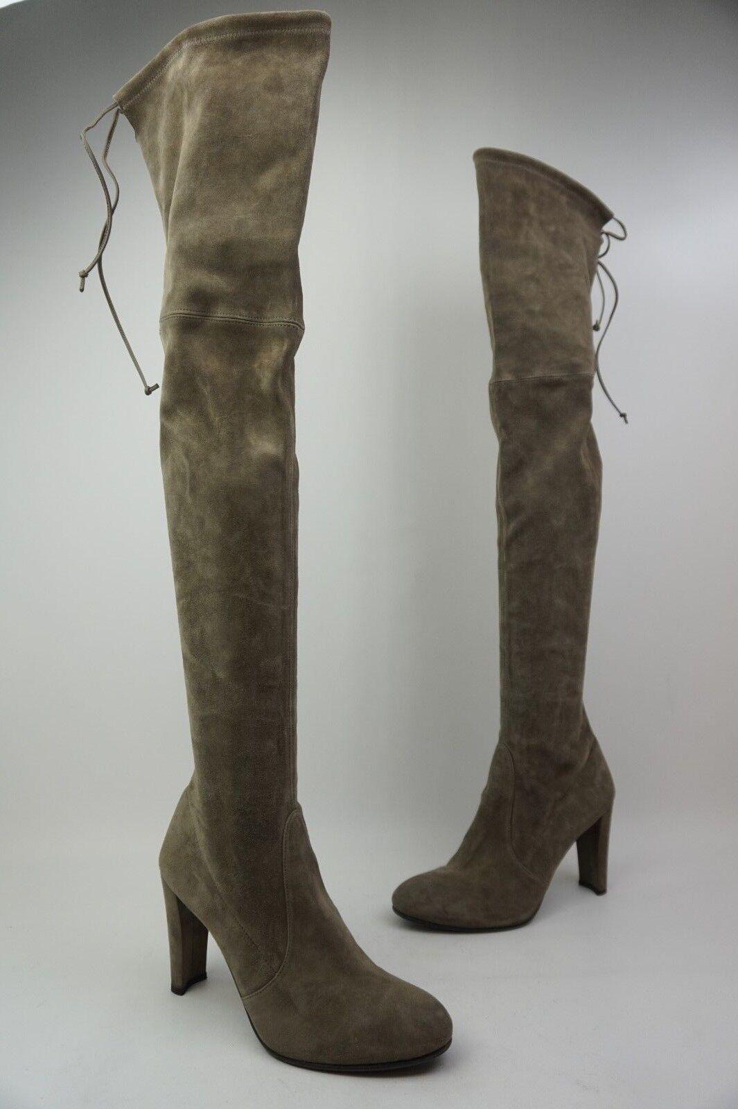 Stuart Weitzman Hochland Overknee Praline Grau Wildleder Stiefel Größe 40  | Flagship-Store