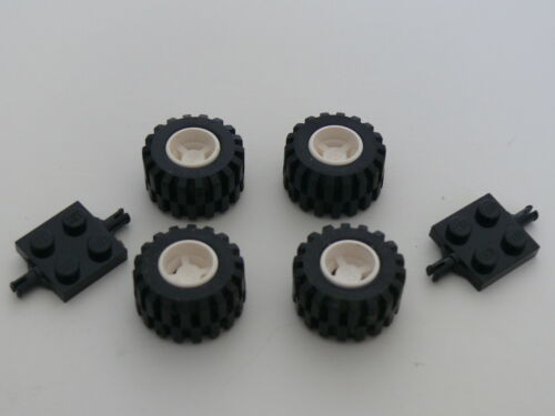 Lego wheel round hole for wheels holder pin with black tire 2 black flat