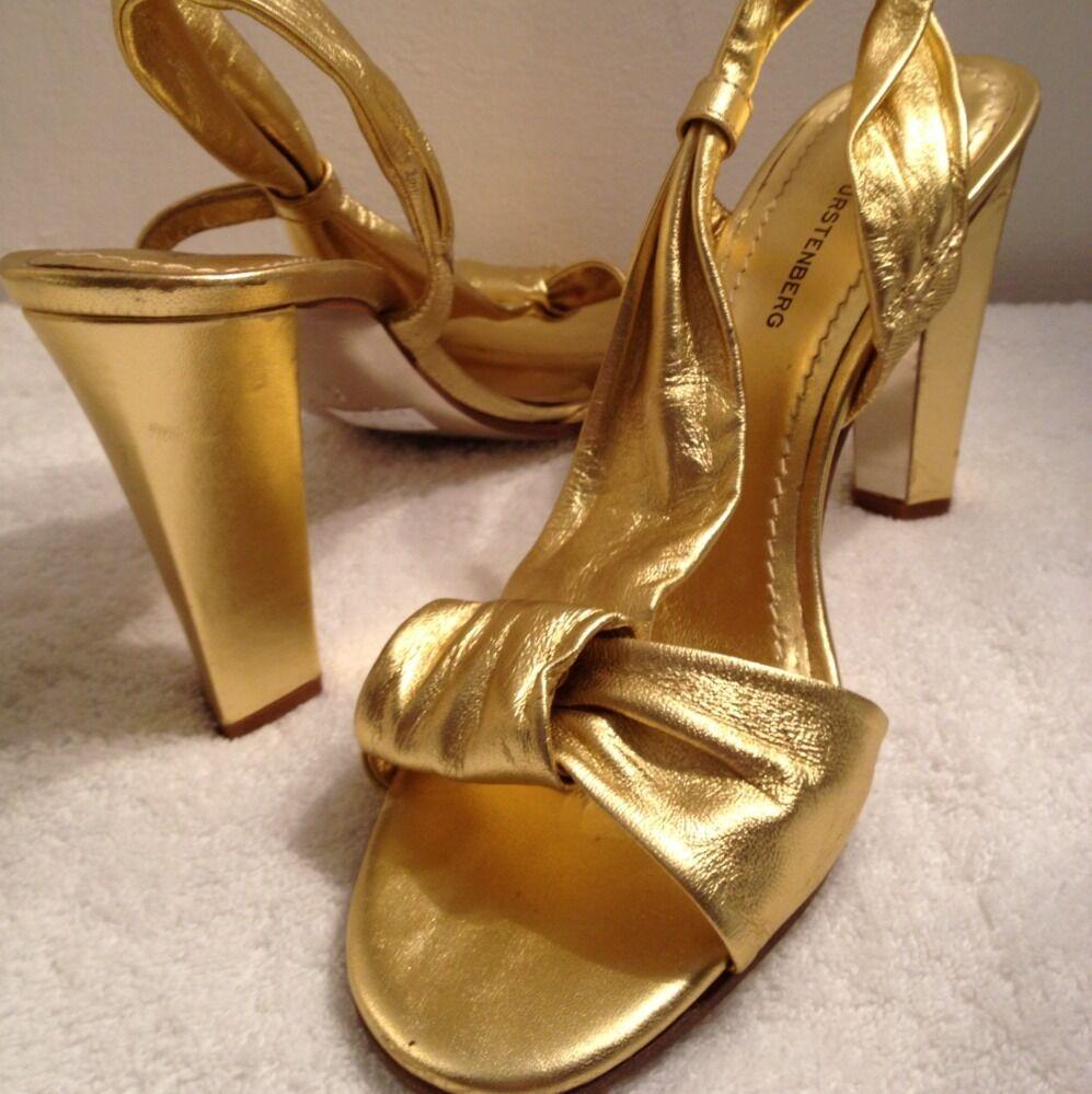 DVF Diane von Furstenberg gold Designer Metallic Platform Sandals shoes 9