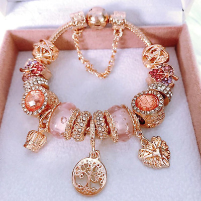 PANDORA Inspired Charm Bracelet. Rose Gold Bracelets. Charm Bracelets NEW |  eBay