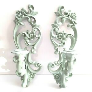 Homco-4118-Pair-of-Wall-Hanging-Sconces-Vintage-1971-Painted-Mint-Green-Nice