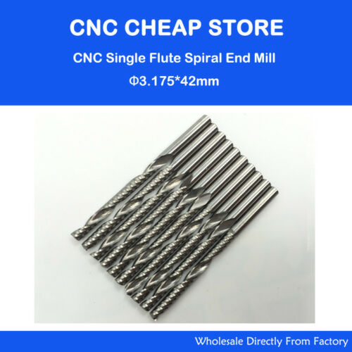 10pcs Carbide End Mill Single Flute Spiral CNC Router Cutting Bits 3.175 × 42mm