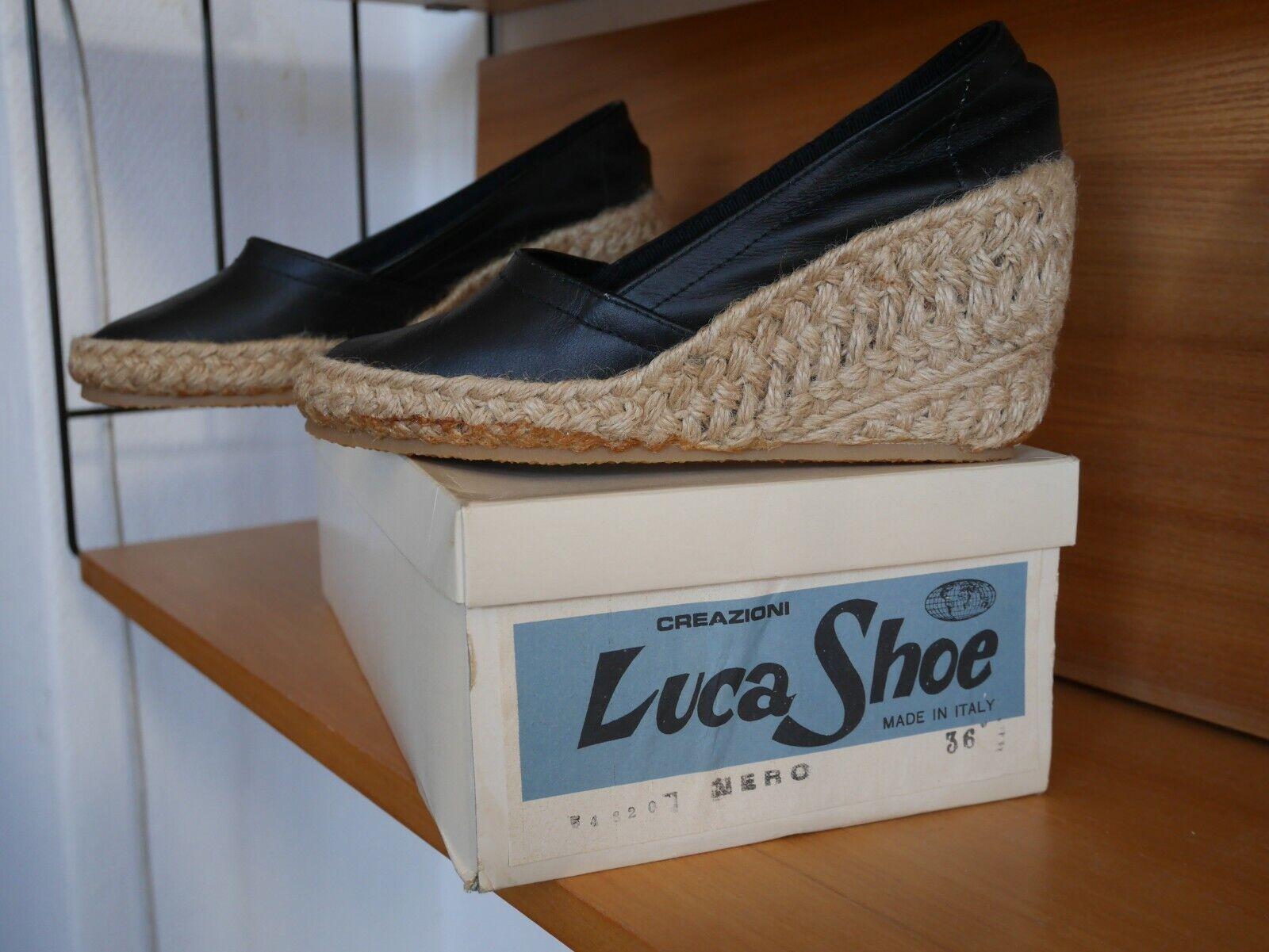 besondere Auswahl an Neueste Mode viele möglichkeiten Wedge 36 schuhe Luca Bast VINTAGE 70s wedges TRUE schwarz ...