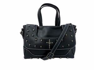 GOTHX-SKULLS-CROSS-Ladies-Handbag-Backpack-Steam-Punk-Rock-Goth-Gothic-PU-Bag