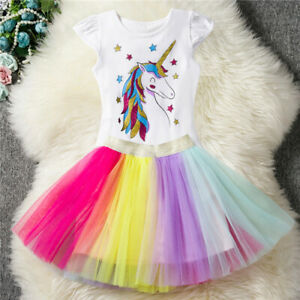 d3ad0bd07dc74 Kids Girls Birthday Party Dress Unicorn T-Shirt Tops + Tutu Skirt ...