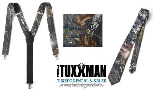 New Camouflage Tuxedo Suspenders Tie Set Formal Wedding Party Camo Prom Men SALE