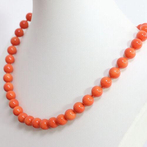 "Véritable naturel NEUF 8 mm Orange Coquillage Collier De Perles 18/"" AAA"
