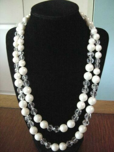 Antique~MARVELLA Pearl & Crystal Glass Beads w/Sil