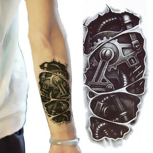 3D-Waterproof-Robot-Arm-Temporary-Tattoo-Stickers-Body-Art-Removable-Tatoos