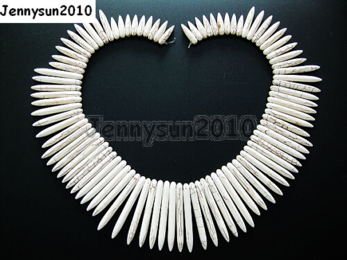 White Howlite Turquoise Graduated Stick Spike Choker Necklace Beads 16/'/' Strand