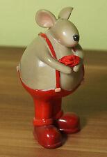 Figur Deko Dicke Maus mit Rose und Hosenträger H=10,5cm DEKO (F6)