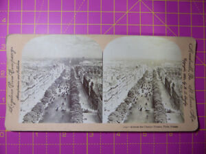 Antique-Stereoscope-Photograph-Avenue-des-Champs-Elysees-Paris-1900-Stereoview