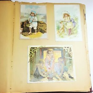 Antique-1890s-Victorian-Scrapbook-Album-Die-Cuts-Trading-Cards-Olive-Vandermark