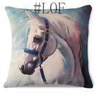 """Home Decor Handsome White Horse Elegant Cotton Linen Cushion Cover LauR 45cm/18"""""""