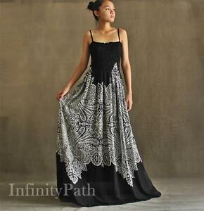 Details about Women Plus Size Maxi Black & White Boho Strapy B&W Summer  Party Long New Dresses