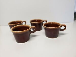 Set of 4 Vintage Hull Coffee Mugs Cups Brown Drip 10 oz Pottery USA Oven Proof