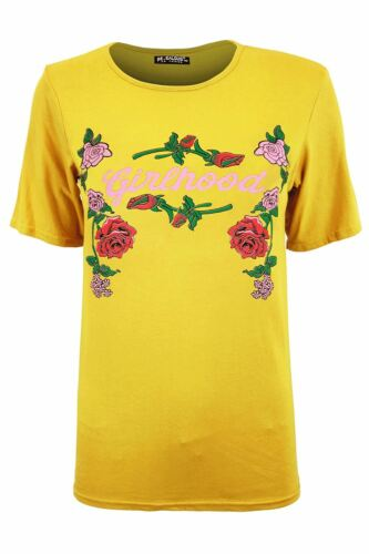 Women Ladies Girlhood Gold Foil Celebrity Inspired Pullover Round Neck T Shirt