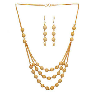 322ac513a1a18 Details about Jwellmart India Designer South Gold Polish Ball Design Long  Necklace Chain Set