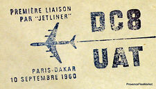 1960 DC8  UAT PARIS DAKAR    Airmail Aviation premier vol AC10