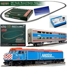 KATO 30-2004 HO Unitrack  EMD F40PH Metra w Coach Starter Train Set READY TO RUN