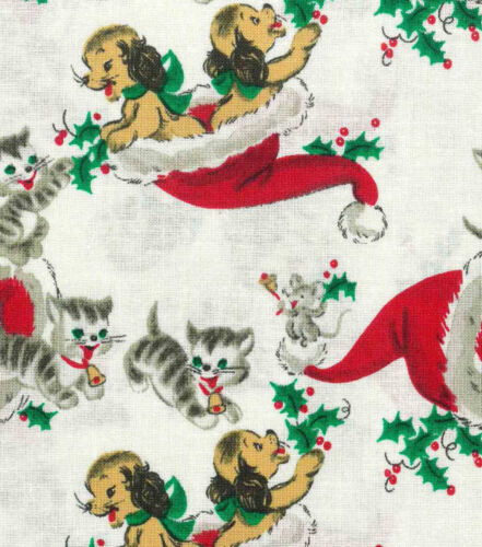 VINTAGE KITTIES /& PUPPIES IN SANTA HAT CHRISTMAS VALANCE